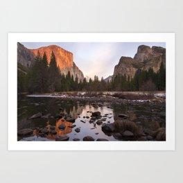 Yosemite - El Capitan & Merced River - Sunset in Winter Art Print