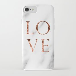 Rose gold marble LOVE iPhone Case