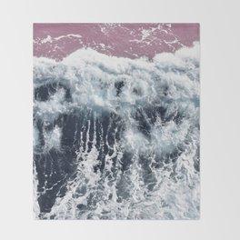 Aerial View, Blue Waves Throw Blanket