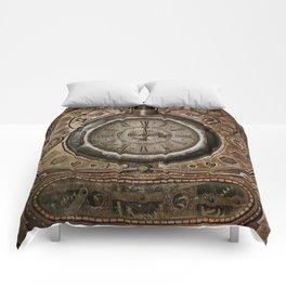 Brown Grunge Vintage Steampunk Clock Comforters