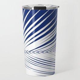 Palm Leaf Silhouette, Navy Blue and White Travel Mug