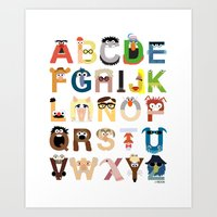 muppets Art Prints featuring Muppet Alphabet by Mike Boon