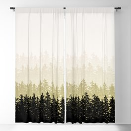 Fading Pine Tree Layers Olive Green Taupe Blackout Curtain