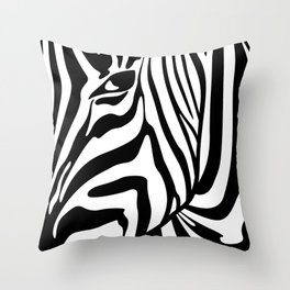 Black And White Zebra Portrait, Animal Photo, Large Printable Photography, Stripes Wall Art, Striped Throw Pillow