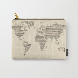 Old Sheet Music World Map Carry-All Pouch