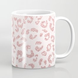 Faux pink glitter leopard pattern illustration on pink lace Coffee Mug