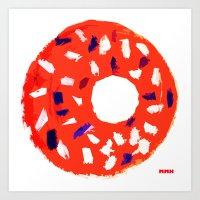 doughnut Art Prints featuring Doughnut by Myles Hunt