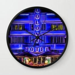 Ocean Drive South Beach Colony Hotel Midnight Cafe Dinner landscape by Jeanpaul Ferro Wall Clock