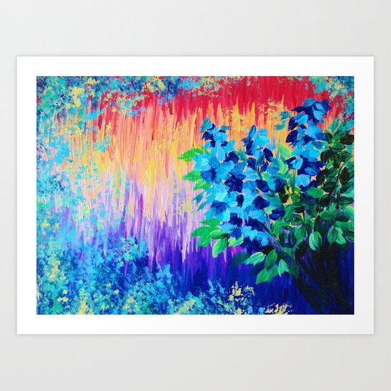 SHADES OF BEAUTIFUL - Stunning Bright BOLD Rainbow Ombre Pattern Blue Floral Hyacinth Nature Autumn Art Print
