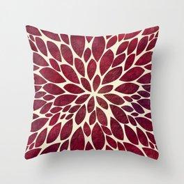 Petal Burst - Maroon Throw Pillow