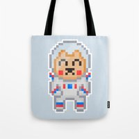 8bit Tote Bags featuring 8Bit Astrobear by Bear Picnic