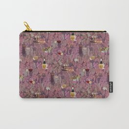 Wine and Cheese Pattern Print Carry-All Pouch