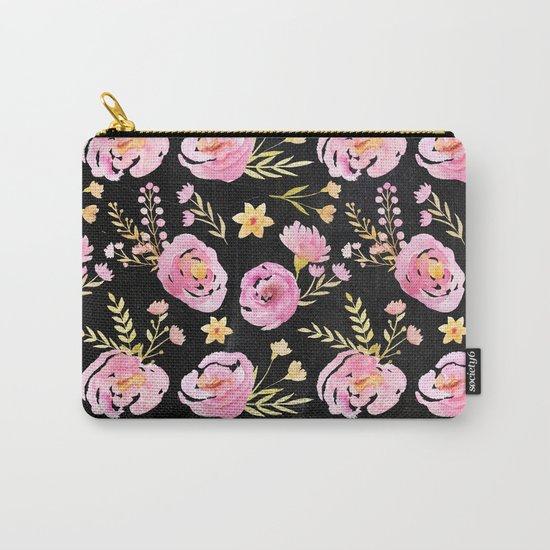 Delicate Poppy Pattern On Chalkboard Carry-All Pouch