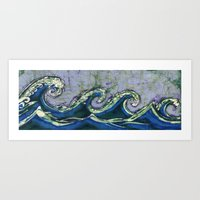 Batik waves 2 Art Print