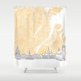 Copenhagen Denmark Skyline Map Shower Curtain