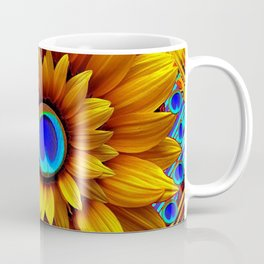 SURREAL GOLDEN SUNFLOWERS PEACOCK BLUE EYES Coffee Mug