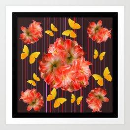 Decorative yellow Butterflies Pink Flowers Puce Art Print