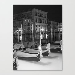 Gondolas in the night Venice Italy black and white Canvas Print