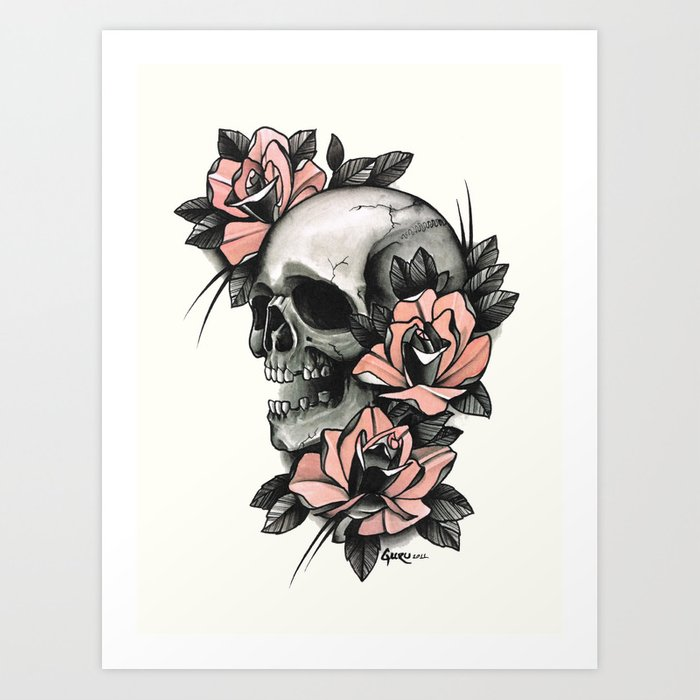 Skull And Roses Tattoo Art Print By Gurumarques Society6