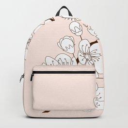 sakura twig in bloom on beigue Backpack