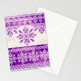 purple fair isle flake on cream Stationery Cards