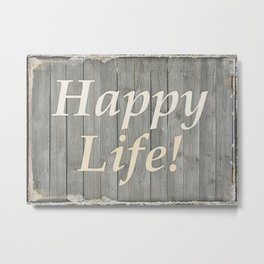 Happy Life Letters Shabby Style Poster Metal Print
