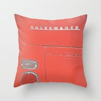 decal Throw Pillows featuring Red Volkswagen VW Bus Back Decal Vintage Photography by Tay Silvey