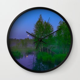 White moon night on the forest river Wall Clock