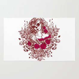 Sexy Woman zombie WITH Flower - Razzmatazz Rug