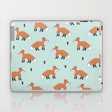 Cute fall woodland smiling foxes illustration pattern Laptop & iPad Skin