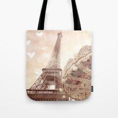Eiffel Tower Carousel Dreamy Sepia Hearts  Tote Bag