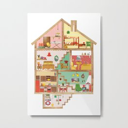 Dollhouse collage Metal Print