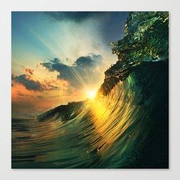Beach - Waves - Sunset - Clouds - Sundown Canvas Print