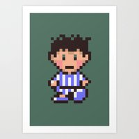 earthbound Art Prints featuring Ness (Pajamas) - Earthbound / Mother 2 by Studio Momo╰༼ ಠ益ಠ ༽