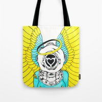 halo Tote Bags featuring Halo by Paul Trujillo