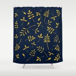 Gold Leaves Design on Dark Blue Shower Curtain