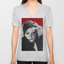 Greta Garbo v červené Unisex V-Neck