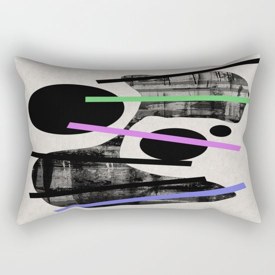PENSIVE - Eclectic blend of geometric shapes, pastel colours, and black and white textures Rectangular Pillow
