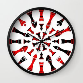 Red/Black Chessmen Wall Clock