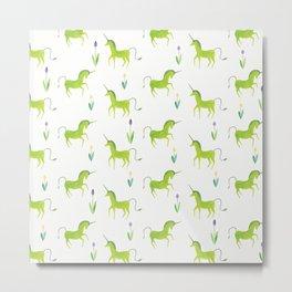 Green unicorn Metal Print