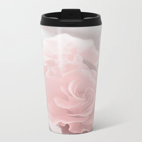 Lovely Rose in soft pink pastel tone Metal Travel Mug
