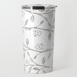 Gray ivory hand drawn watercolor leaves floral berries pattern Travel Mug