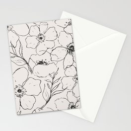 Floral Simplicity - Neutral Black Stationery Cards