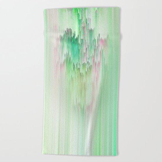 Abstract Cascade Glitch 1.Green Beach Towel
