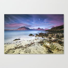 Beach Scene - Mountains, Water, Waves, Rocks - Isle of Skye, UK Canvas Print