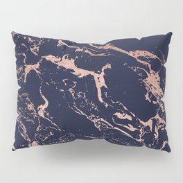 Modern chic navy blue rose gold marble pattern Pillow Sham