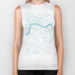 London White on Turquoise Street Map Biker Tank