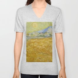 "Vincent van Gogh ""Wheat Field behind Saint Paul Hospital with a Reaper"" Unisex V-Neck"