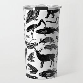 Linocut animals nature inspired printmaking black and white pattern nursery kids decor Travel Mug