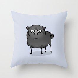 Angry pug - black Throw Pillow
